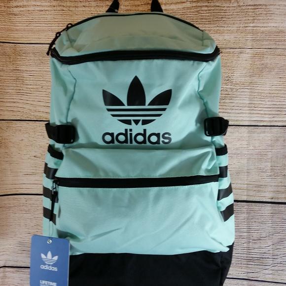 d3eedfb6f69e NWT Aqua + Black Adidas Classic Backpack Trefoil
